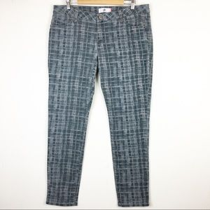 Cabi Blue Gray Grid Print Skinny Jeans